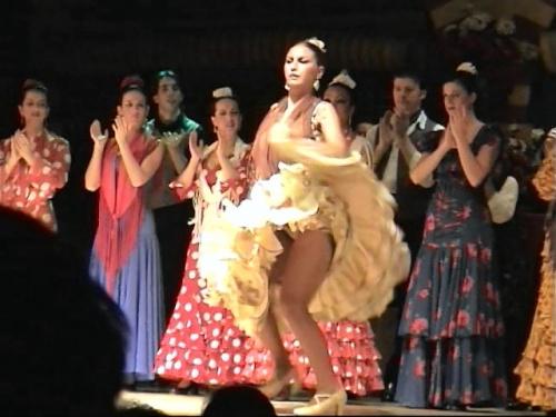 フラメンコを特訓してパパスも登場しようかと考えましたが、4traより追放になりそうだったのでここでの登場は見合わせたい<br />と思います。<br />今回のタブラオはセビリアの夜に行きました。<br /><br />スペイン・アンダルシア地方のセビリアは闘牛とフラメンコの街として有名になっています。そのフラメンコはジプシーによって南スペインで開花した芸能ですが、フラメンコを今の様にしたのは南スペインに来たロマ族が迫害を受け、その怒り、苦しみ、悲哀、恋へ、生きる喜び、情熱等の感情をアンダルシア地方の音楽と融合させて今のフラメンコになったとのことです。<br />タブラオとは観光客でも気軽に訪れることが出来るところで、お酒や食事をしながらフラメンコを楽しむことが出来きる場所のことです。<br />ここのタブラオではフラメンコだけでは無く、その他のスパニッシュダンスを混ぜたショーを見ることが出来退屈することも無く楽しめました。<br />ここではビデオを写真に落としていますので画像が少し悪くなっています。<br />タブラオの雰囲気を少しでも味わって下さい。<br />