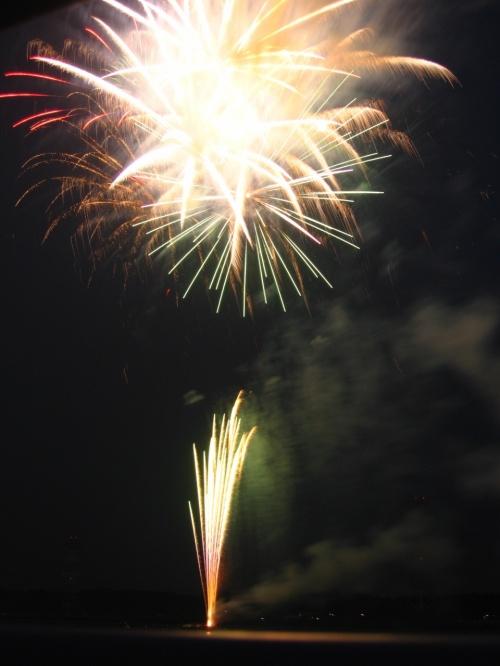 手賀沼花火大会 ☆ 水中花火の炸裂!迫力の火花を追って・・。