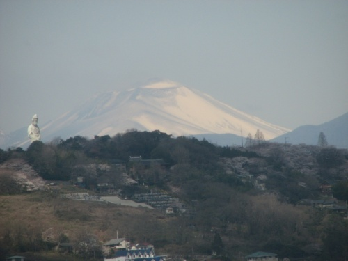 4月5日柏崎まで出張に行った。8:24東京発の「MAXとき309号」に乗って長岡まで乗車した。 この日は天気がよく車窓から見られる風景は格別だった。<br />川口~さいたま市間では真っ白な富士山が見られた。熊谷付近では富士山は秩父の山々に隠れて見えなくなった。 その代わりに熊谷~高崎間では浅間山がはっきりと見られて素晴らしかった。<br /><br /><br /><br />*写真は上越新幹線の車窓より高崎観音と浅間山を眺める