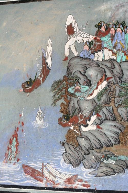 百済王国の滅亡の地、白馬江の崖の中腹に建つ皐蘭寺見学の続きです。百済滅亡の時の壁画などを見学しました。<br />