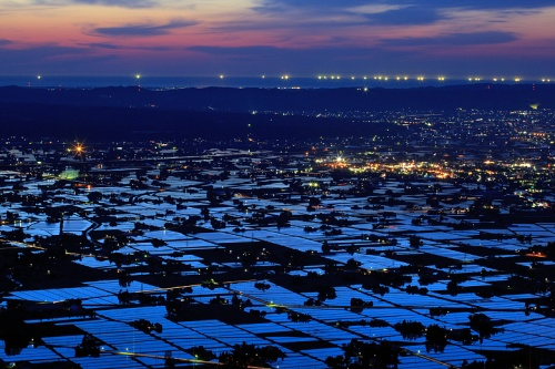 二度目の砺波平野、散居村の夕陽を見に行きました。 / 富山県南砺市
