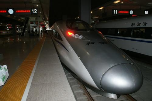 一ケ月ほど前に開通したという、上海ー杭州間の新幹線「和諧号」に乗ってみた。<br />これまでの和諧号は在来線を走る特急だったが、<br />今回乗るのは日本の新幹線と同じく在来線に並行して高架の専用線を走ってスピードは出し放題…<br />今回の計画は<br />・上海南駅から郊外の嘉善まで在来線<br />  楓涇古鎮観光の後<br />・嘉善南駅から杭州駅まで新幹線<br />  帰りは<br />・杭州駅から嘉善南駅まで在来線<br />西塘古鎮観光の後<br />・嘉善南駅から上海南駅又は虹橋駅まで新幹線<br /><br />問題は嘉善南駅。<br />嘉善駅とどのくらい離れているのか全く不明。<br />どうやら、地元では新幹線を「高鉄」ガオティエと呼んでいるようだ…