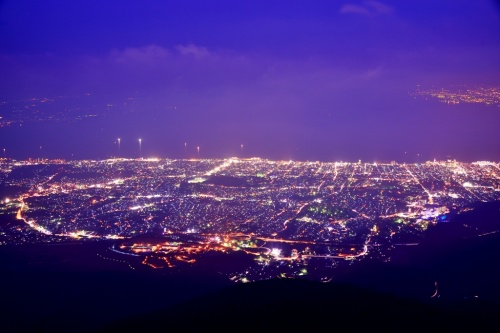 鶴見岳から別府の夜景