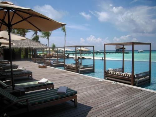 """The Residence Maldives(ザ・レジデンス・モルディブ)<br />(2012年11月11日現在の情報です。情報は予告なしに変更されますので、予めご了承ください。)<br /><br />2012年9月10日にオープンしました。<br />ザ・レジデンス・モルディブは、モルディブを含めて4か国展開をしているラグジュアリーホテルグループ。<br />日本にもセールスオフィスがあります。<br /><br />ザ・レジデンス・モルディブは、モルディブの雰囲気に溶け込んだリゾートです。<br />ラグジュアリーでありながらモルディブらしさのフレンドリーなスタッフと心地よいサービスでおもてなしをしてくれます。<br />                                                                                                                                                                                                                                                                                                                                   <br />""""広いラグーンに囲まれた、ザ・レジデンス・モルディブにようこそ!""""<br />南北にのびる長い島…。見渡す限り広い透き通ったラグーン。<br />あ〜なんて綺麗なのだろう〜と、素朴な感想ですが、眺めていても飽きない景色。<br />島の周りには白いビーチも広がり、散歩をしていると済んだ空気が体の中に溶け込んでいきます。<br />ハウスリーフにはカメさん&お魚さんが沢山〜。ハウスリーフ&ダイビングポイントでもカメが多いのは珍しい。<br /><br />ザ・レジデンス・モルディブは、ガーフアリフ環礁にあります。赤道に近いリゾートです。モルディブに来て赤道に近いリゾートなんてすごい夢のようですね。<br />フルレ国際空港から、国内線でKaddho(カッドゥ)空港経由Koodhoo(クッドゥ)空港に行きます。<br />国内線チェックイン等など全てレジデンスンのスタッフがお手伝いをさせていただきます。<br />また、国内線出発のお時間まで、ラウンジ内でお待ちいただけ、搭乗手続き開始になりましたら、ラウンジスタッフがご案内をしております。<br />ラウンジにはスナック&ドリンサービス、インターネットサービス(デスクトップ1台)Wifiアクセス無料があります。<br />搭乗手続き開始時間がきましたら、ラウンジスタッフがご案内をいたしますので、ゲートの方へお進みください。<br />Kaddho(カッドゥ)空港到着時は、またレジデンスのスタッフがお手伝いをさせていただきます。<br />空港からボート乗り場まで車いで約2分。そこからスピードボートで、約10分でレジデンスに到着です。<br />Kaddho(カッドゥ)空港にはトイレがありますので、ボート乗り場に行く前にお済ませください。<br />海&空の色が一段と青く綺麗!景色を眺めている意外とアットいう間にリゾート到着です。青い海に囲まれた島は、マリンブルーの色が透き通ったラグーン、白い砂のビーチで描かれています。<br />桟橋では、スタッフが笑顔でお出迎えしてくれます。桟橋から見るラグーンの色はまた一段と美しく輝いているので感動しますよ!!!<br />桟橋からバギーでロビーへご案内。チェックインはロビー又はライブラリーで。<br />同時にリゾートの説明&島内地図などもくれますので、わからないことがあればその場で聞いていただけます。<br />また、お部屋にはイインヴィラダイニングメニューがあります。<br /><br />島の雰囲気<br />南北に延びた長い島。水上コテージも南北に延びています。ハウスリーフはよく、ビーチがきれいで、防波堤がなく、静かな島ですね!<br />室数は94室。7タイプのカテゴリーより、お好みにタイプをお選びいただけます。<br />個性的な屋根の桟橋から島内を見渡すと、左には広いビーチとプール!<br />綺麗なラグーンを一望できるプールはサンセットも綺麗に眺めていただけるフォトジェニックのベストロケーションです。<br />とにかくラグーンが綺麗で心を和やかにしてくれます。<br />東側の水上コテージ先端&ファルフマーレストラン先端は心地よい波の音が聞こえてきます"""