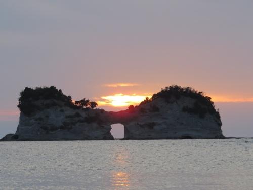 南紀白浜へー白浜の夕陽とコガノイベイホテル
