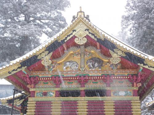 雪景色の東照宮