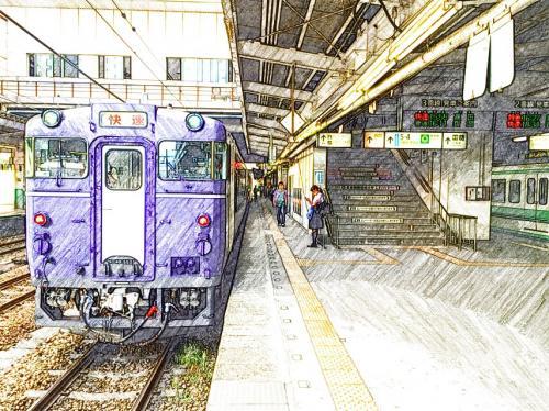2014 8月 楽しい列車の旅「越乃shu*kura号(長岡15:55発→直江津18:02着)」・青海川駅で日本海を眺める。