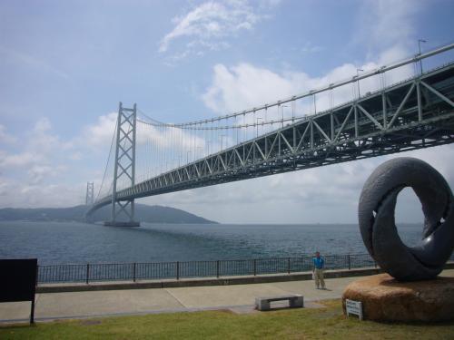 絶景! 明石海峡大橋、主塔からの景色、熟年でも見ることが出来ました
