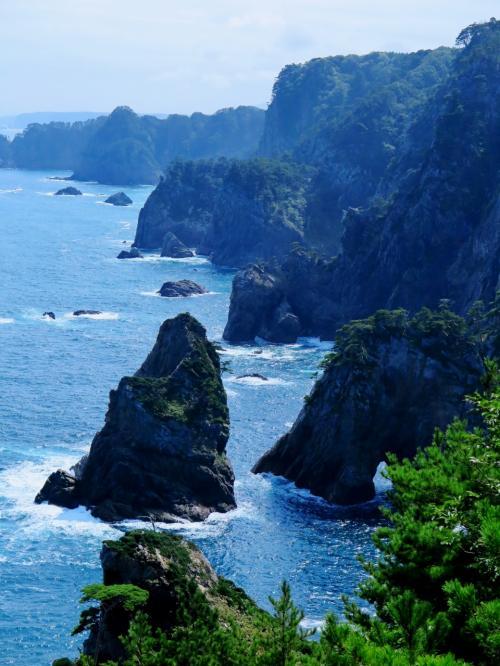 北山崎 高さ200mの大海食崖の大眺望☆晴天下 第1 /2展望台から
