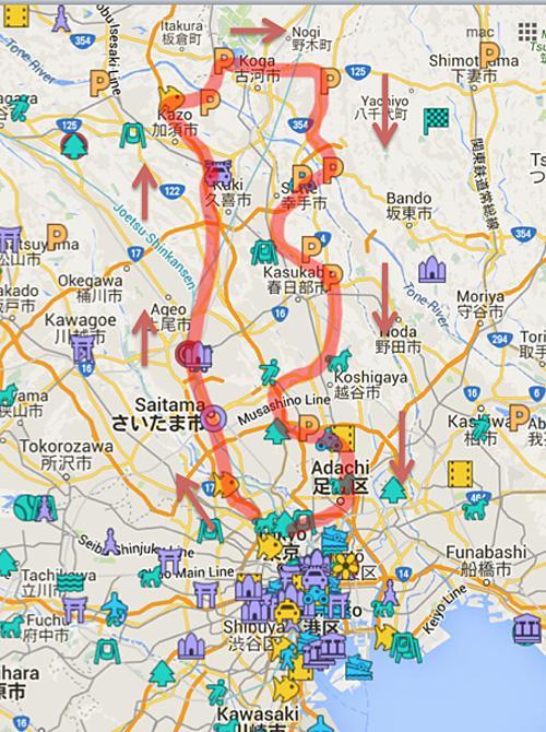 初めての埼玉、氷川神社、鷲宮神社、ハイドラCP巡り