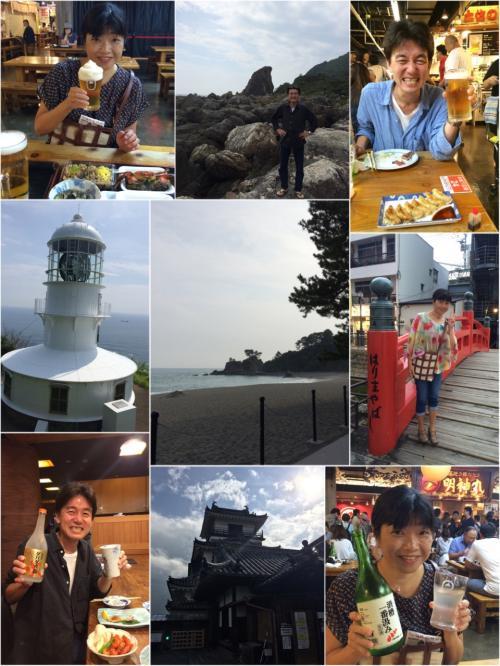 敬老の日の旗日の連休に合わせて大阪のダンナ宅に通算9度目の通い妻。<br /><br />前回は1月、この間ダンナの仕事の関係で週末帰宅してくれることが多かったので、久しぶりの来阪だ。<br />さて、今回はどこに遠征しようね。<br /><br />いつかケンミンショーで酒好きの高知県民が朝から飲んでいる巨大フードコートがあるって紹介されていたっけ。<br />酒好き夫婦には心揺さぶられる内容だったのよ〜<br /><br />ということで、高知県への旅。<br />朝から飲んだくれるためには連泊しないと!!<br /><br />思惑通り朝から晩まで飲んだくれ、高地の味覚を楽しんできました。<br />やっぱり国内の旅はどこでも食事が美味しくていいね(^^♪