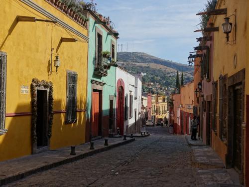 2017年のお正月休み、冬は暑い所に行こうと2度目のメキシコへ。前回はメキシコシティとユカタン半島を巡ったので、中央高原を中心に回りました。<br /><br />その4は世界遺産、サン・ミゲル・デ・アジェンデ。手工業によって栄えた街ですが、その後衰退し、そのためにかえって古い街並みが自然に保存されたところ。法王庁の旗の色である、黄色と白、それにフランシスカンの茶色の3色を基調に、シックに塗られた家並みが続きます。<br /><br />アメリカでは世界で一番行きたい場所(2位はベネチア)にも選ばれたことがあるらしく、街を歩いていると英語もちょくちょく耳にします。観光地としてとてもよく整備されていて、お土産やさんも今回行った中では一番洗練されていました。<br /><br />旧市街は狭い範囲に固まっているし、坂に沿ってできた街なので、ぐるぐるさまよい歩くのも楽しいです。迷ったらパロキア(教区教会)の派手な塔を探せばOK。ただし、デコボコの石畳の道が続くので、歩きやすく壊れにくい靴が必要です。私はちょっと華奢な靴をはいて行ったら、靴の皮をかがっている糸がほつれてしまいました。<br /><br />・メキシコシティからサン・ミゲル・デ・アジェンデへ<br />・展望台からの眺め<br />・ソカロとパロキア<br />・徒歩でサンフランシスコ教会へ<br />・シビカ広場と、ラサルー教会、サンフェリペネリ教会<br />・民芸品市場<br />・昼食はミログロスで<br />・街歩き<br />・アジェンデ美術学校<br /><br />表紙写真は、レクレオ通りのシックな家並み。
