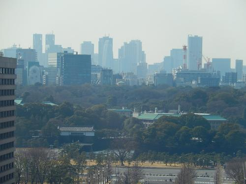 3月12日、午後2時頃に東京駅・グラントウキョウノースタワー12階のレストランで遅めの昼食を取った後、12階の展望室より丸の内方面の風景を見た。 新宿方面の高層ビル群がやや霞んで見られた。<br /><br /><br />*写真はグラントウキョウノースタワー12階から見られる新宿方面の風景
