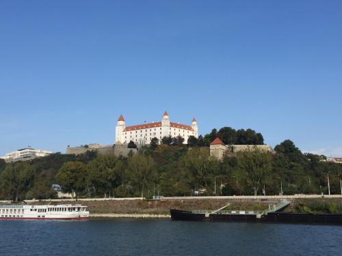 中欧三ヶ国の首都を駆け足で巡りました。行程は以下の通り。<br /><br /> 12(水)ジュネーブ→プラハ(国立美術館、ストラホフ修道院)【プラハ泊】<br /> 13(木)プラハ(旧市街広場、プラハ城)【プラハ泊】<br /> 14(金)プラハ→ブラチスラヴァ(ブラチスラヴァ城)【ブラチスラヴァ泊】<br /> 15(土)ブラチスラヴァ→ウィーン(シェーンブルン宮殿)【ウィーン泊】<br /> 16(日)ウィーン(国立図書館)→ジュネーブ<br /><br />この旅行記はチェコ・プラハ<br />http://4travel.jp/travelogue/11213197<br />の続きで、3~4日目のスロバキア・ブラチスラヴァ、<br />表紙写真はドナウ川から見たブラチスラヴァ城です。