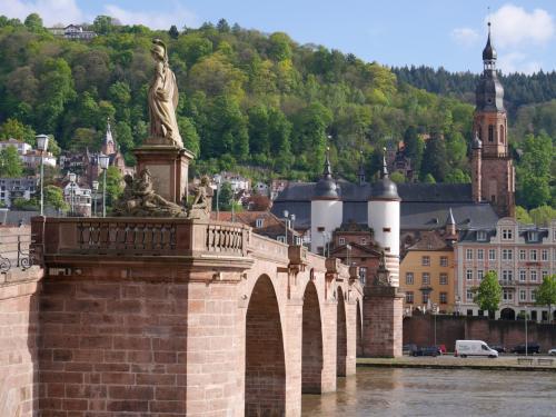GWにドイツに行ってきました。ドイツは私も夫も初めての土地。<br />どこに行こうか調べれば調べるほど、広い土地に見どころが多くて<br />今回の旅行では一度に行きたいところをすべて周るのは無理だと悟りました。<br /><br />見どころの多いドイツで、どこに行くとても迷いましたが、フランクフルトから<br />遠くないところで、王道のところへ行くことにしました。<br />古城ホテルに泊まりたかったのですが、せっかく泊まるなら連泊してゆっくりしたい。<br />しかし、見たいところは多いし・・今回はあきらめました。<br />結果、リューデスハイムとハイデルベルクに2泊ずつにしました。1泊ずつの移動は<br />疲れるので、2泊ずつの宿泊です。日程は以下の通りです。<br /><br />4月30日(日) 関空→香港 CX507 KIX/HKG 17:55/20:55<br />5月1日(月) 香港→フランクフルト CX289 HKG/FRA 00:35/06:40<br />      ケルン観光、リューデスハイム観光 リューデスハイム泊<br />5月2日(火) ライン川クルーズとボッパルト観光、リューデスハイム観光 リューデスハイム泊<br />5月3日(水) フランクフルト観光、ハイデルベルク散策 ハイデルベルク泊<br />5月4日(木) ハイデルベルク観光 ハイデルベルク泊<br />5月5日(金) フランクフルト→香港 CX288 FRA/HKG 13:45/06:50+1<br />5月6日(土) 香港→関空 CX506 HKG/KIX 10:20/15:05<br /><br />旅の後半はハイデルベルクです。ウン十年来念願のハイデルベルクです。<br />ドイツに行くときはハイデルベルクに行くって決めていたのです。<br />夫はこの旅で初めて聞いた土地らしいです。そんなものでしょうか。<br />ハイデルベルクは思っていた通りの美しい町でした。おまけにこの日だけ<br />晴れたのです!表紙写真に景色の写真を載せられるのはこの日のもの<br />だけなんですよ!晴れ間にテンションあげあげでした。