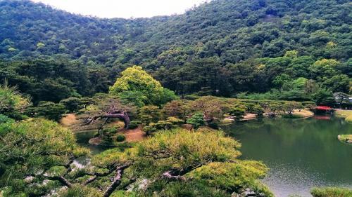 土日の1泊2日で<br />うどん食べ歩き・栗林公園・高松城・骨付鳥・丸亀城・金毘羅さん・与島PA<br />と香川県を堪能してきました。<br />写真は栗林公園です。<br />1日目は骨付鳥までです。