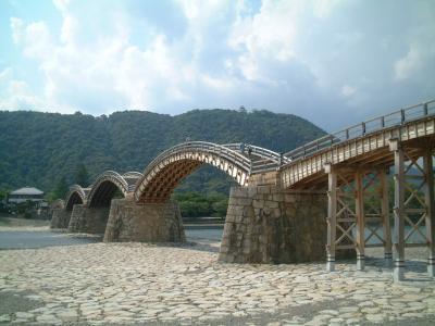 岩国、錦帯橋。お天気も最高です