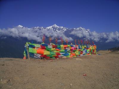 雲南省のチベット 飛来寺から見る梅里雪山