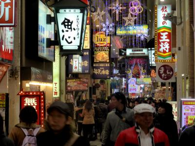 奥の細道を訪ねて;付録2・芭蕉最期の行程を辿る旅 3.芭蕉の終焉の地・大阪 その6芭蕉の句碑が建つという太融寺界隈の夜景