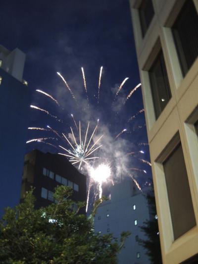 ビルの間から見た花火