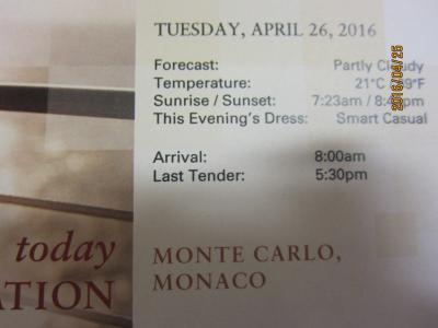 C.2.BarcelonaからVeniceまでの24日間の船旅★Tue Apr 26 Monte Carlo, Monaco