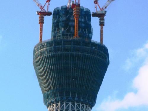 錦糸町界隈からの東京スカイツリー- ☆400m超えて順調に成長中