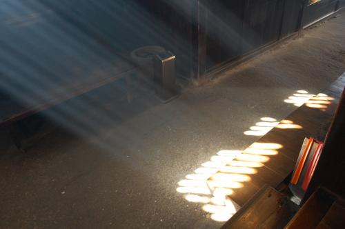 妻籠宿、脇本陣奥谷の「囲炉裏の光」