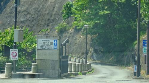 県立一庫公園 湖畔の駐車場。