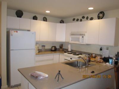 キッチン 大型冷蔵庫に食洗器、大きなオーブンとペーパーまで