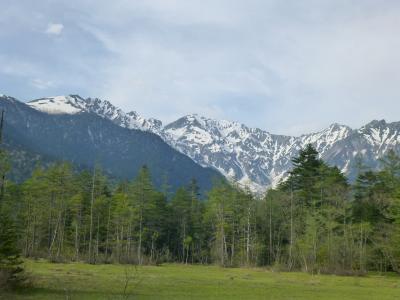 残雪と新緑がきれいだった。