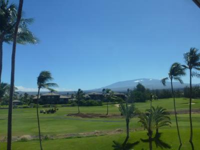 エレベーターホールからマウナケア山頂が見えました