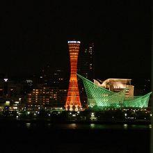 到着直前の神戸の夜景