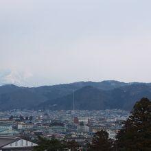 天守から見た飯盛山、目印らしい白い棒が立っていました