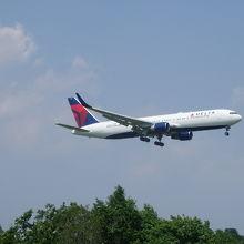 飛行機着陸中