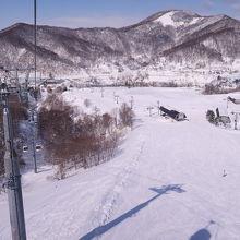 幅広の圧雪中斜面が充実したスキー場