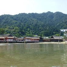 宮島へのフェリーから見た厳島神社