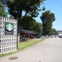 公園内のスタバ