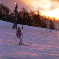 253-「夕張マウントレースイスキー場」、夕日の中を滑る!