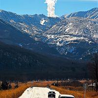 飯田高原・長者原附近 九重連山を望むバスドライブ ☆雪原/噴煙も見えて
