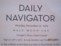 F1.Fort LauderdaleからSan Diegoまでの16日間の船旅★2.Monday - Nov 21, 2016 Half Moon Cay, Bahamas