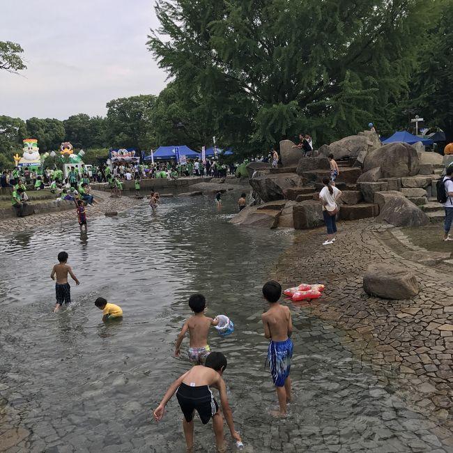 湘南ベルマーレのホームスタジアムの湘南BMWスタジアム平塚のすぐ横にあるじゃぶじゃぶ池。<br /><br />夏場の待ち時間に子供を遊ばせておくのに最適。<br /><br />細長く、何ブロックかに分かれており、水深も大人の膝くらいからくるぶし程度のところも。小さい子供も安心です。<br /><br />サッカー観戦にアウェイで訪れる人にもオススメ!水着の用意を是非!<br /><br />木陰も多く、日除けもしやすいと思います。<br /><br />平塚総合運動公園内にあります。