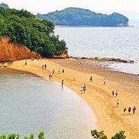 小豆島-1 エンジェルロード 島が繋がる砂浜 ☆約束の丘からの展望も