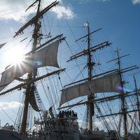 名古屋港開港110周年記念 練習帆船「日本丸」・「海王丸」2隻同時寄港 ♪ 強風の中でセイルドリル