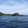 ジョンビーチやジニービーチを眺めながら、南島に到着。 「鮫池」と呼ばれる入江に進入するには、非常に狭い水路を通らなければならず、操船も慎重に。 ゲストには、座る位置の指定(船のバランス)と動かないようにとの指示が出る。