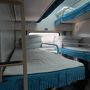 丹東から平壌へ行く列車は3段ベッドでかなり狭いです。