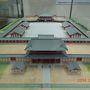 政庁跡に隣接する資料館で100名城スタンプをGET.  大宰府政庁の模型は、以前見た多賀城の構造と似ている。こちらの方が規模が大きいかな。