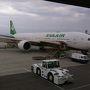 ●エバー航空@関西空港  機体がでかいと安心します(笑)。 本日は満席とのことです。  関西空港発 12時55分 台北(桃園)空港着 15時05分 エバー航空131便